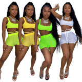Solid Breathable Tank Top Shorts 2 Piece Sets YD-8379