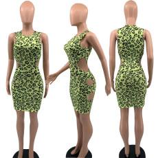 Sexy Leopard Hole Sleeveless Mini Dress YAOF-8022