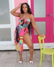 Sexy Printed Bodysuit Swimwear+Beach Skirt Sets Without Headscarf ORY-5189