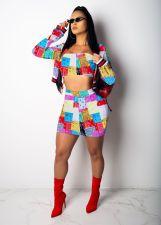 Plus Size Printed Tube Top+Jacket+Mini Skirt 3 Piece Sets TEN-214