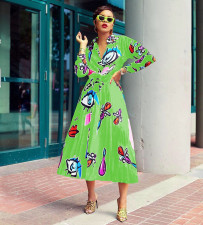 Printed Long Sleeve Blouse Top Pleated Long Skirt 2 Piece Set MIL-041