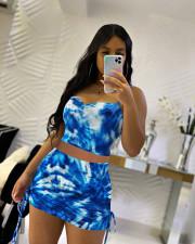Tie Dye Print Cami Top Mini Skirt 2 Piece Sets QMF-7040