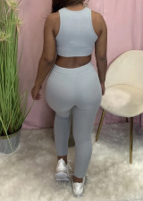 Casual Solid Tank Top And Pants 2 Piece Suits YM-9286