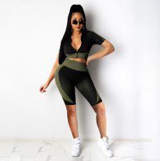 Casual Printed Zipper Top Shorts 2 Piece Suits YIBF-6059