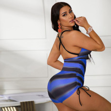 Sexy Striped Backless One Piece Swimsuit SMF-8086