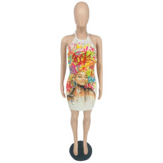 Sexy Printed Halter Backless Mini Dress YBSF-6666