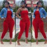 Plus Size Solid Sleeveless Strap One Piece Jumpsuits BLI-2020