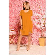 Solid V Neck Split Top And Shorts 2 Piece Sets FOSF-8071