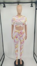 Sexy Printed Short Sleeve Two Piece Pants Set XYMF-8062