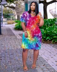 Plus Size Tie Dye Print V Neck Loose Pocket Dress MTY-6516