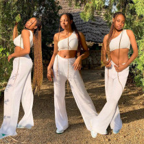 Solid One Shoulder Two Piece Pant Sets YBSF-6670