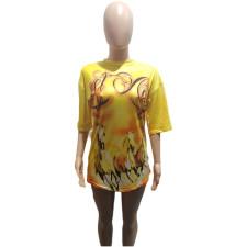 Plus Size Round Neck Print Yellow Top T-shirt BLI-2298
