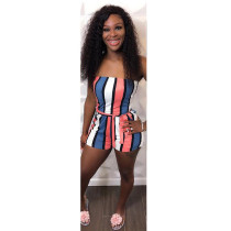 Colorful Striped Sashes Tube Romper CTHF-9005