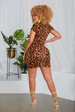 Sexy Leopard Print Zipper Bodycon Mini Dress LX-6892