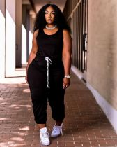 Casual Solid Sleeveless Drawstring Jumpsuit ARM-8272