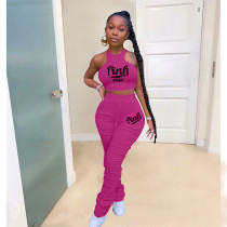 Casual PINK Letter Vest And Stacked Pants Two Piece Sets ARM-8273