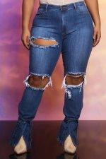 Plus Size Denim Ripped Hole Skinny Jeans Pants LX-6885