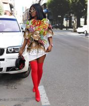 Fashion Casual Print T Shirt Dress AWYF-L732