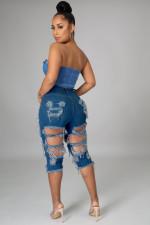 Denim Ripped Hole High Waist Half Lenghth Jeans LA-3267