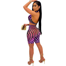 Sexy Printed Backless Two Piece Short Sets OXF-8050