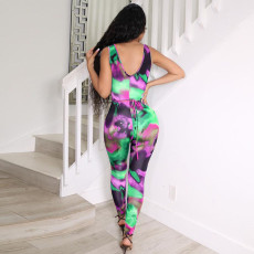 Sexy Printed Sleeveless Strappy Jumpsuit SZF-8037