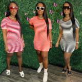 Casual Striped Short Sleeve Mini Dress AWF-5869