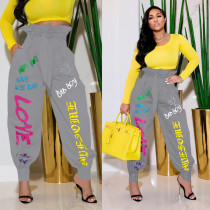 Casual Loose Printed Sashes Long Pants WSYF-5856