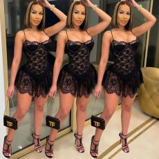 Sexy Lace Spaghetti Strap Mini Club Dress SZF-8048