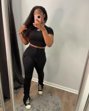 Solid Short Sleeve Split Stacked Pant 2 Piece Suits KSN-8086