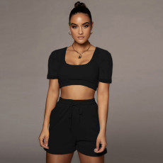 Solid Low Cut Crop Top And Shorts 2 Piece Suits CYAO-8098