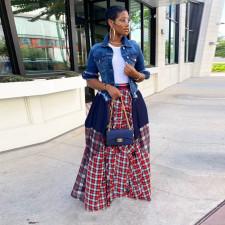 Plus Size Plaid Patchwork Irregular Big Swing Maxi Skirt DAI-0034