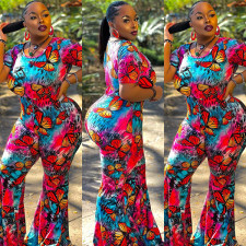 Plus Size Butterfly Print Short Sleeve Flared Jumpsuit SZF-9048
