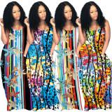 Sexy Printed Strap Pocket Loose Maxi Dress OMY-0019