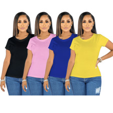 Solid Color Simple Short Sleeve T-shirt YNB-7170