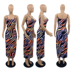 Sexy Printed Spaghetti Strap Maxi Dress PQF-8030