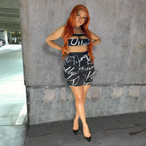 Letter Print Tube Top And Shorts 2 Piece Sets SIF-063