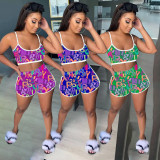 Letter Print Cami Top And Shorts 2 Piece Suits NSFF-6001
