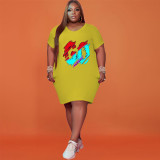 Plus Size Letter Print Short Sleeve Midi Dress NSFF-6002