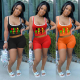 Letter Print Tank Top And Shorts 2 Piece Sets NSFF-6003