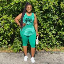 Fashion Plus Size Striped Letter Print Vest Five-Point Pants Two Piece Sets YFS-3699