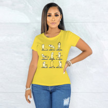 Printed Casual Short Sleeve Yellow T-shirt  YNB-7168