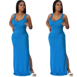 Solid Sleeveless Strap Split Maxi Dress OMY-0018