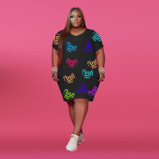 Plus Size Pink Letter Print Short Sleeve Midi Dress XMF-058