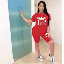 Casual PINK Letter Print T-shirt Shorts Two Piece Sets MNAF-8096