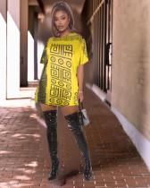 Casual Loose Print O Neck Long Style T Shirt WSM-2017