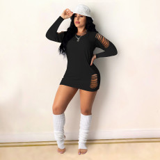 Fashion Plus Size Long Sleeve Solid Color Hole Mini Dress DDF-8096
