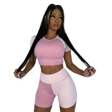 Color Block Sports Casual Short Sleeve Shorts 2 Piece Sets MNAF-8086