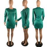 Solid Ribbed Long Sleeve Mini Dress WSM-2019