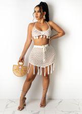 Sexy Grid Tassel Backless Mini Skirt Beach Sets TR-1139