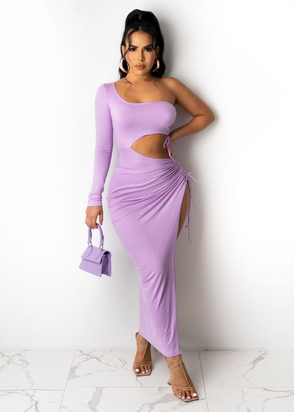 Plus Size Solid Hollow One Shoulder Drawstring Maxi Dress OM-1220